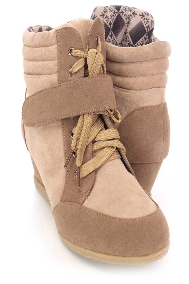Camel Beige Two Tone Sneaker Wedges Faux Suede