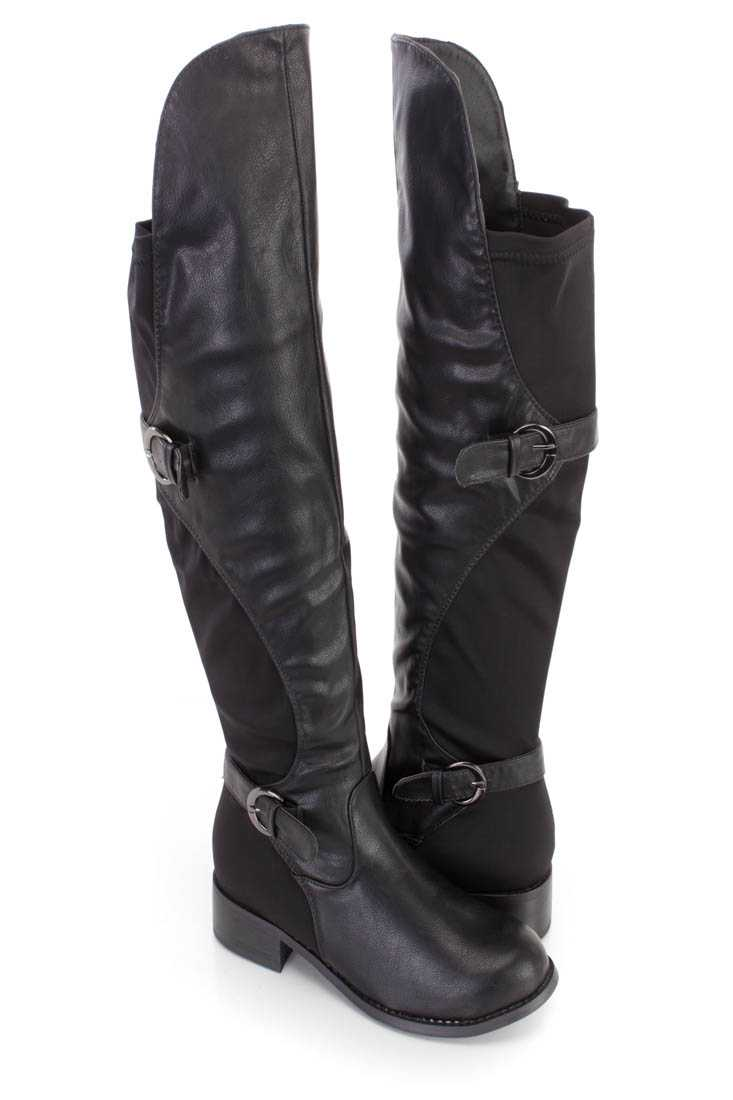Black Thigh High Strappy Riding Boots Faux Leather