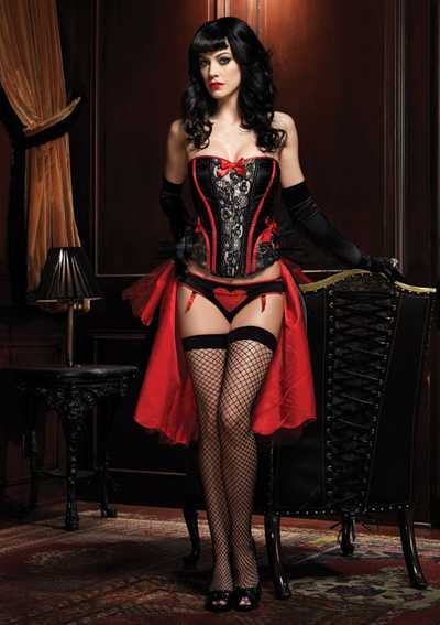 Black Red Raven Corset Top
