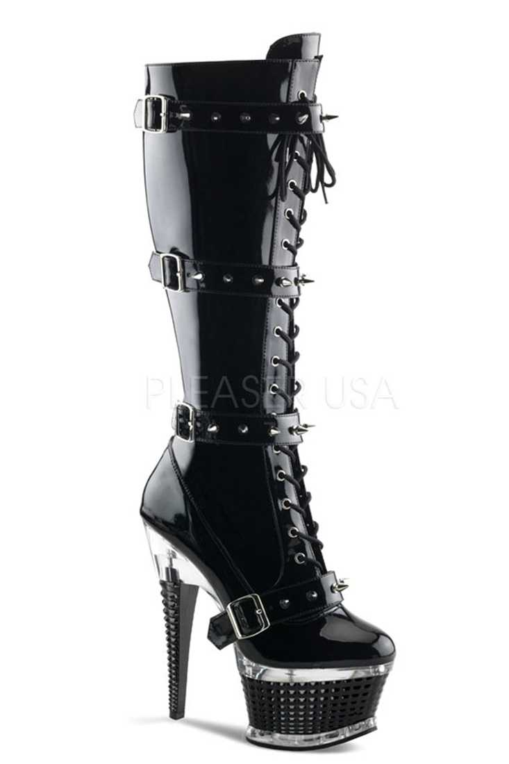 Black Front Lace Up High Boots Platform Boots Patent