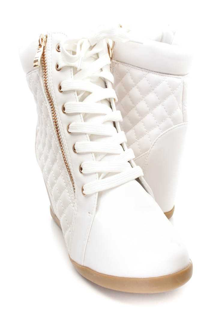 White Lace Up Quilted Sneaker Wedges Faux Leather