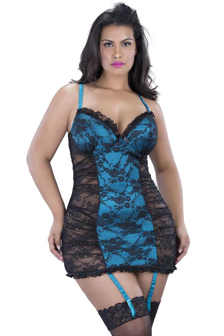 Black Teal Plus Size Floral Lace Two Tone Baby Doll 2Pc. Set Lingerie