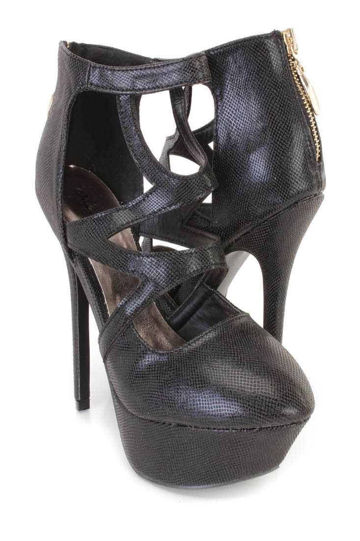 Black Cutout Platform High Heels Faux Leather