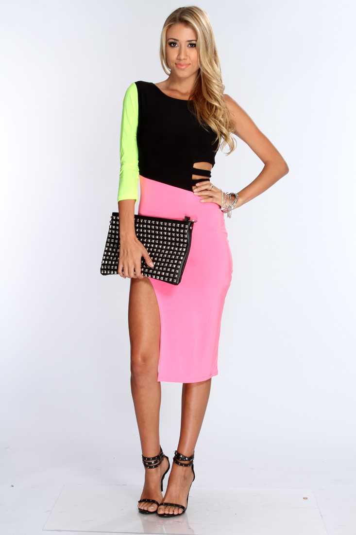 Pink Multi Color-Block Print Sexy Dress
