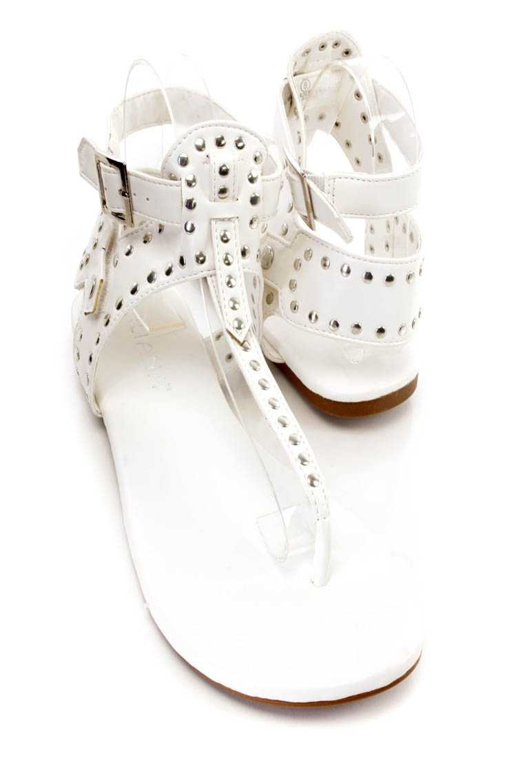 White Studded T Strap Thong Sandals Faux Leather