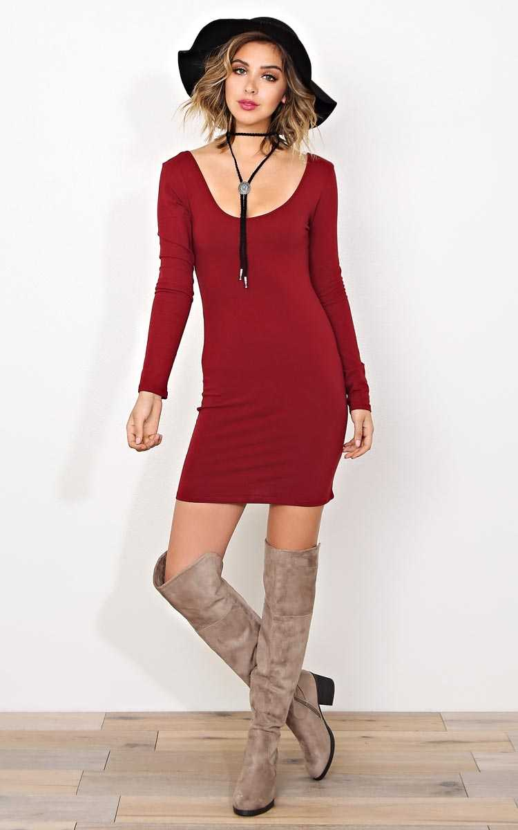 Burgundy Marilyn Knit Dress - - Burgundy in Size by Styles For Less