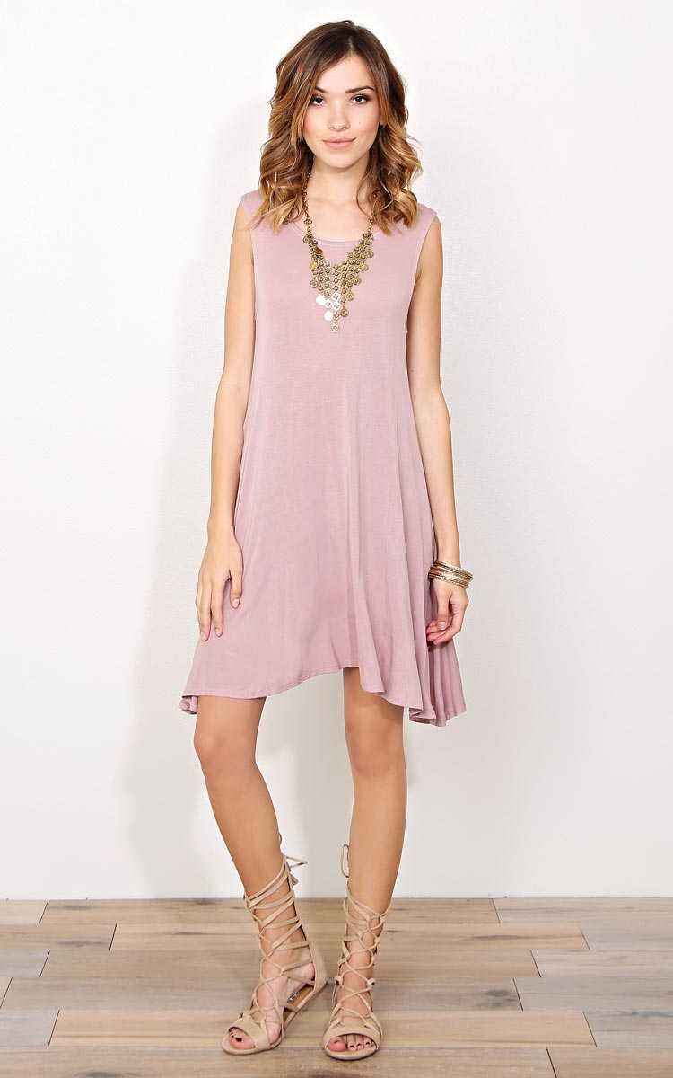 Mauve Movin' On Knit Shift Dress - - Mauve in Size by Styles For Less