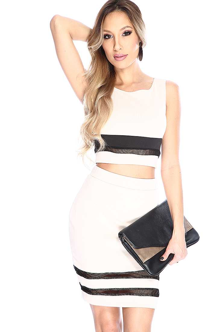 Sexy Beige Sleeveless Netted High Waist 2 Piece Dress