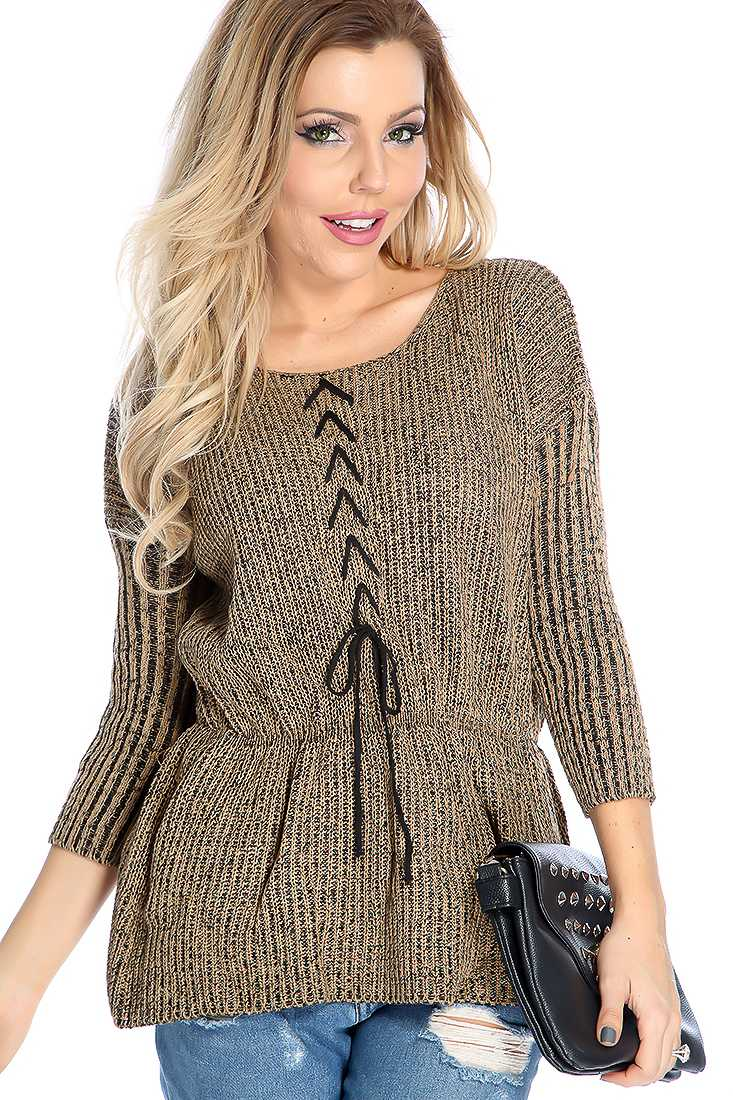 Biege Knitted Lace Up Peplum Long Sleeve Sweater Top