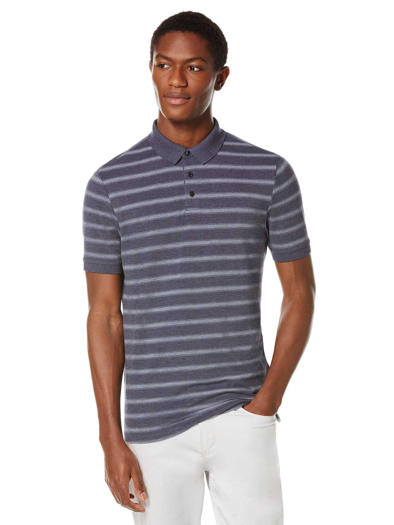 Perry Ellis Short Sleeve Pique Stripe Polo