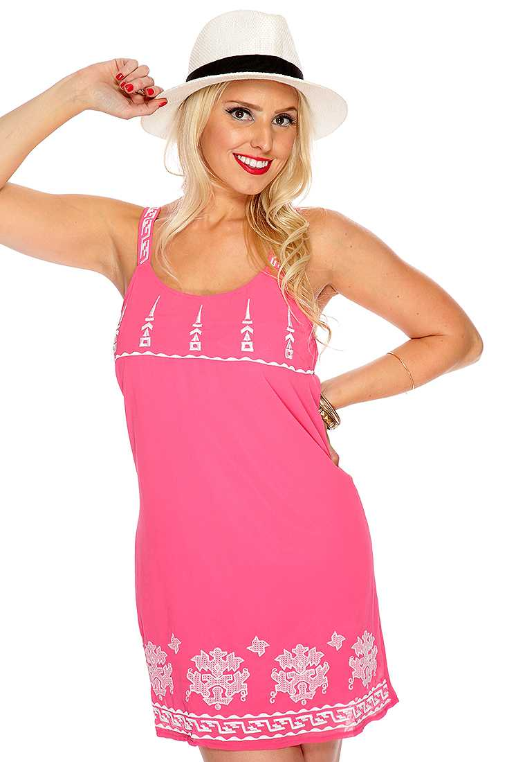 Pink Knitted Pattern Casual Dress