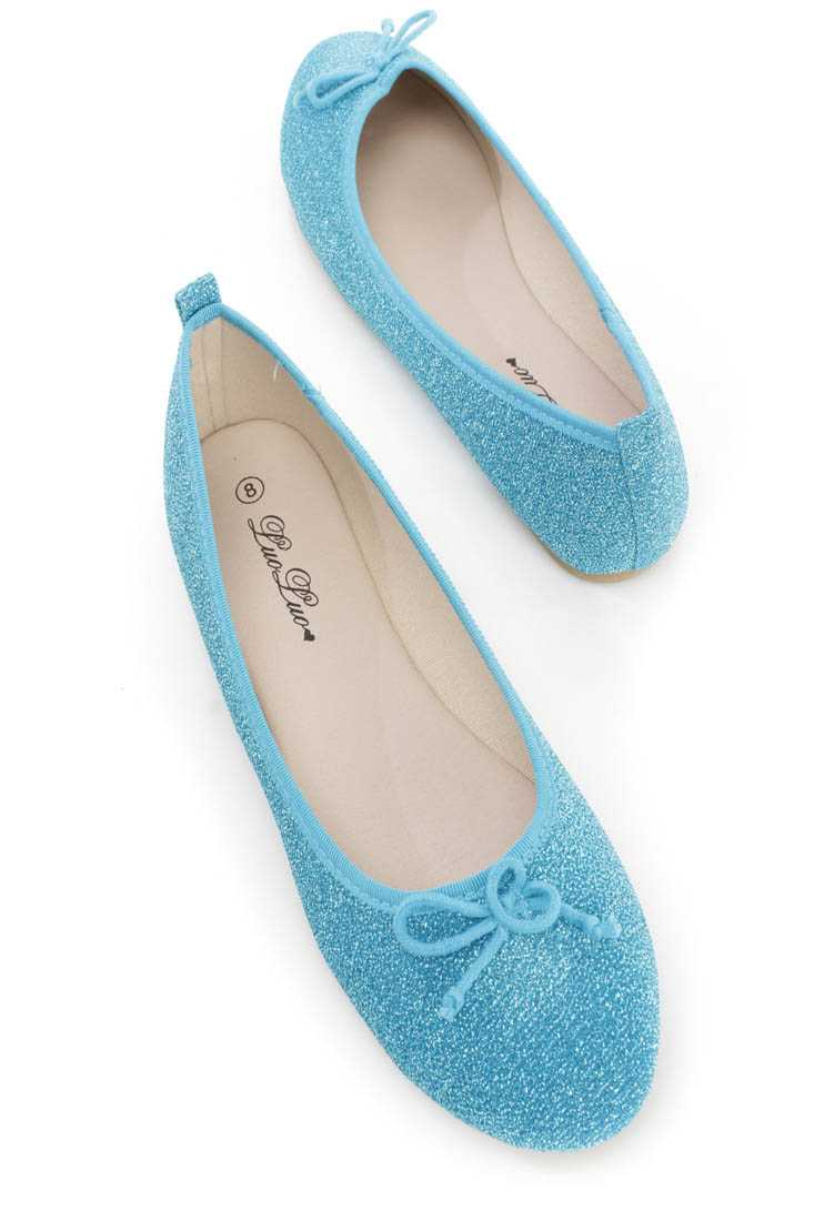 Blue Bow Tie Closed Toe Ballet Flats Shimmer Fabric
