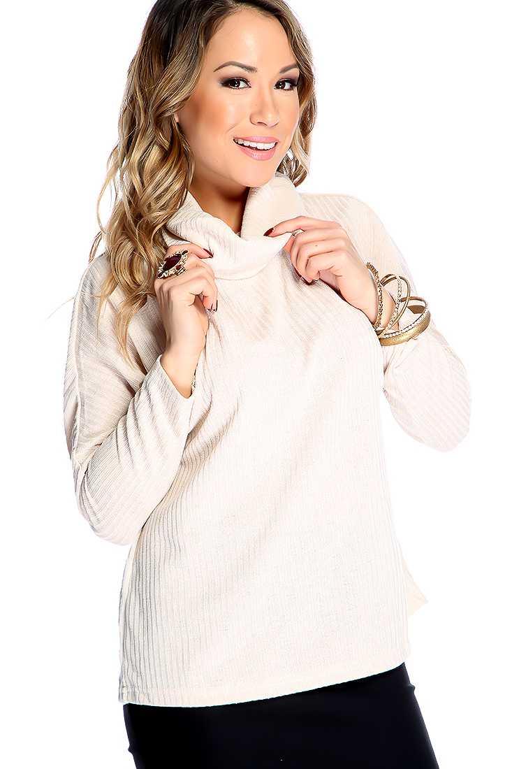 Beige Long Sleeves Cowl Neckline Back Slit Texture Pattern Sweater