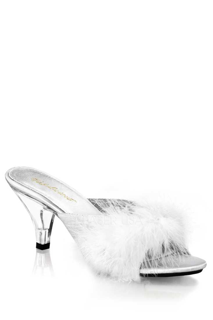 White Satin Fur Open Toe High Heels