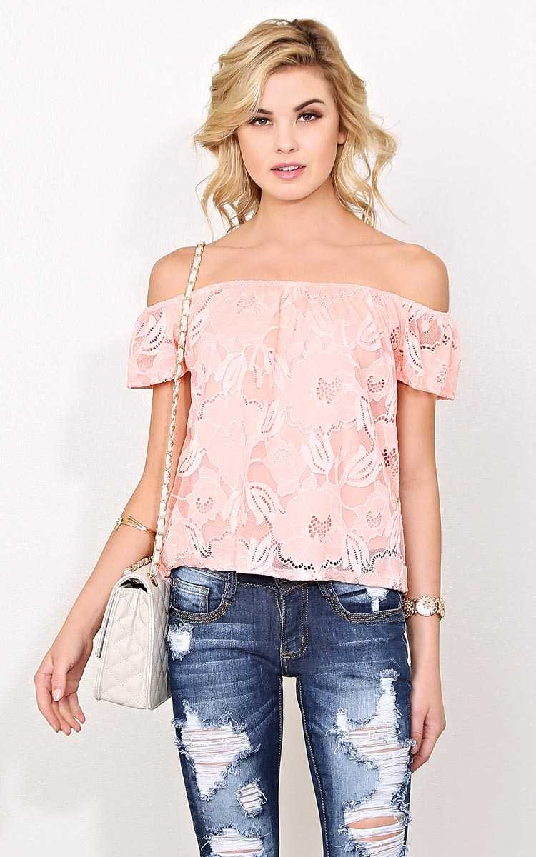 One Fine Day Knit Lace Top - - Peach in Size by Styles For Less