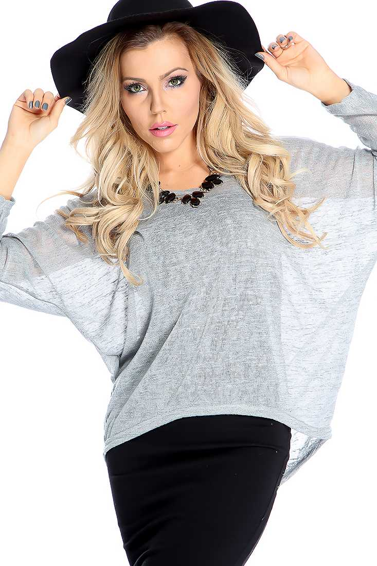 Stylish Grey Long Sleeve Lightweight Material Casual Top