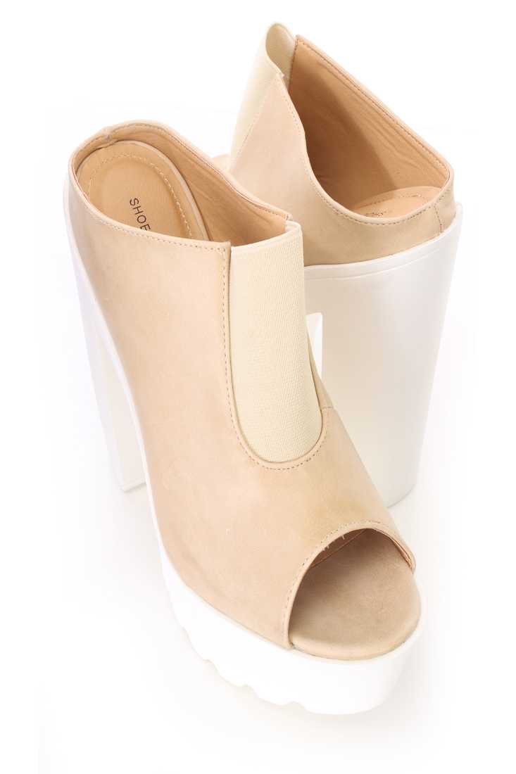 Nude Slip On Peep Toe Chunky Platform High Heels Faux Leather