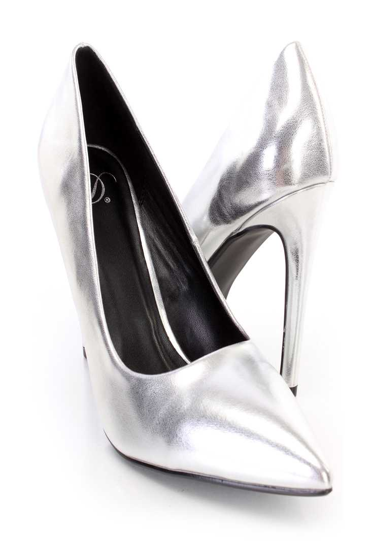 Silver Single Sole Pump High Heels Metallic Faux Leather