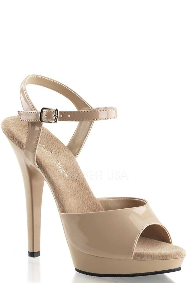 Nude Strappy Peep Toe High Heels Patent