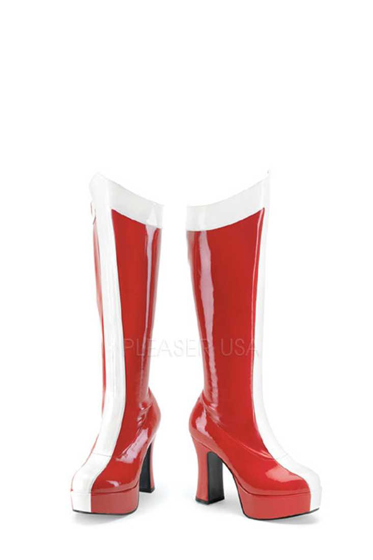 Red White Two Tone Platform Boots Patent