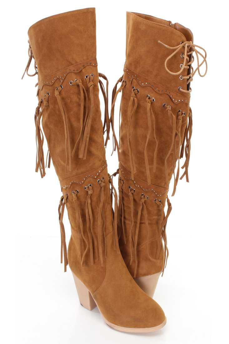 Camel Fringe Studded Detail Chunky Heel Boots Faux Suede