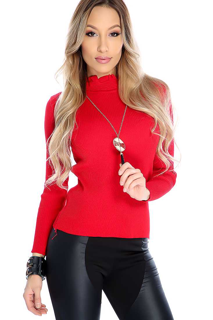 Stylish Red Quarter Sleeve Mock Neck Top