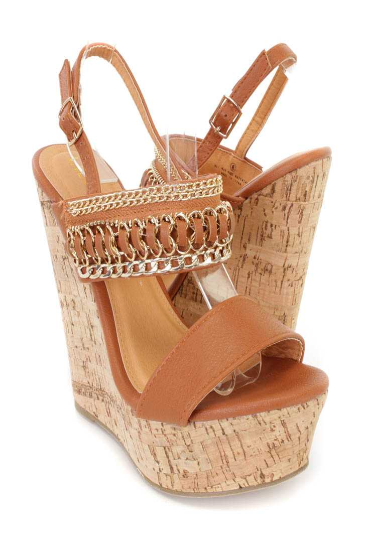 Tan Link Chain Decor Cork Platform Wedges Faux Leather