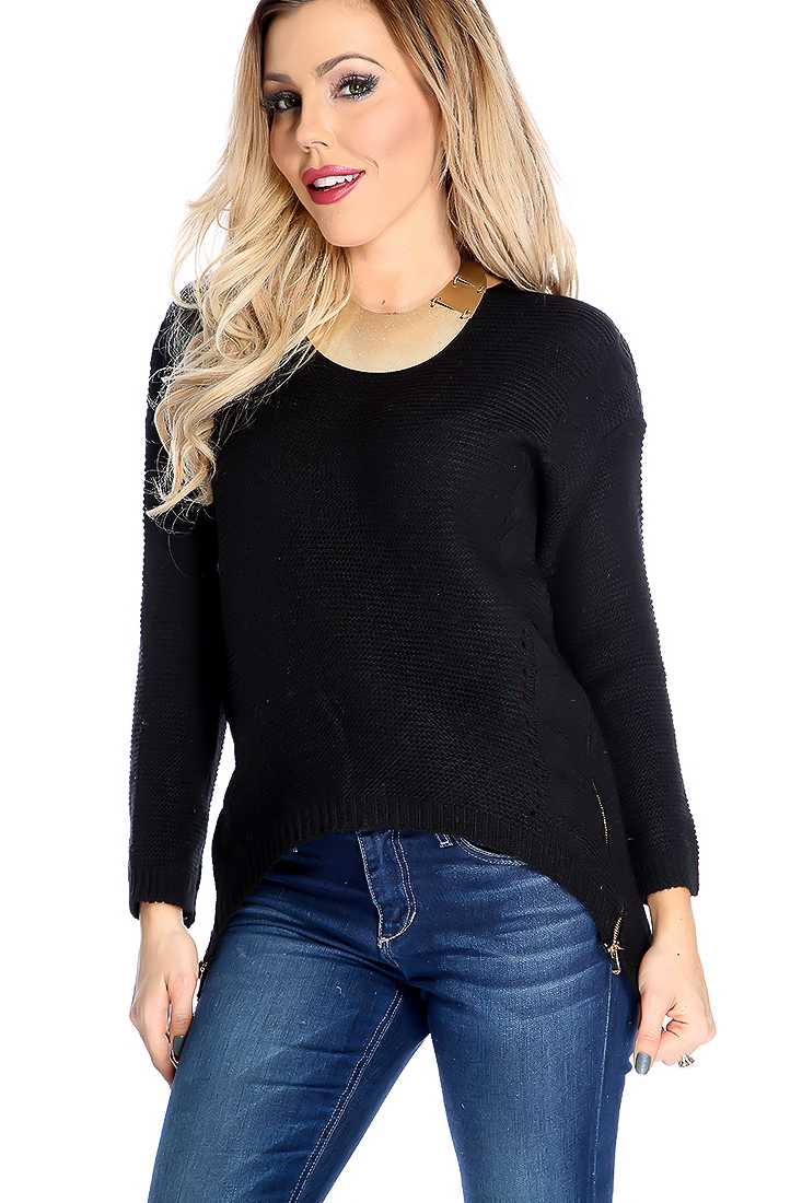 Black Cable Knitted Double Zipper Trim High Low Sweater Top