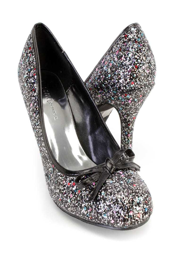 Black Bow Tie Accent Single Sole Pump Heels Glitter