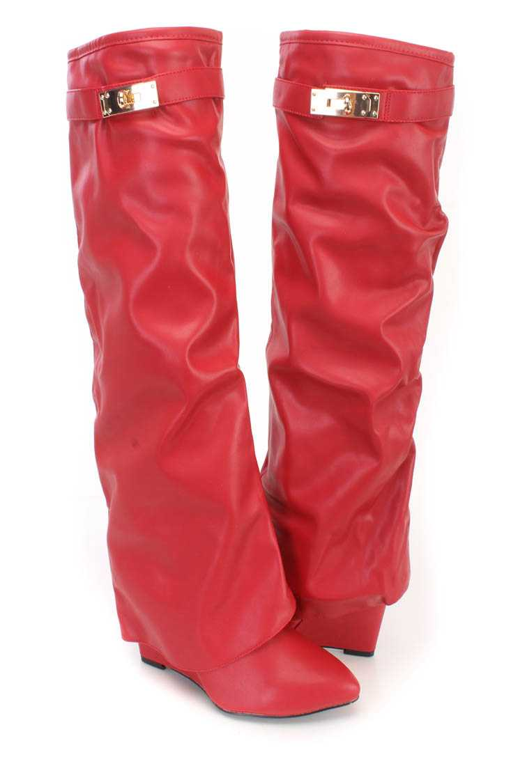 Red Pointed Toe Wedge Boots Faux Leather