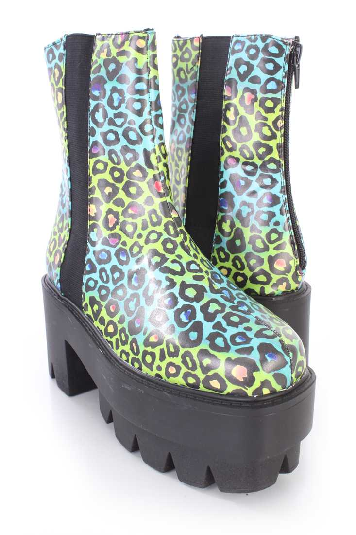 Yellow Teal Leopard Traction Sole Platform Booties Faux Leather