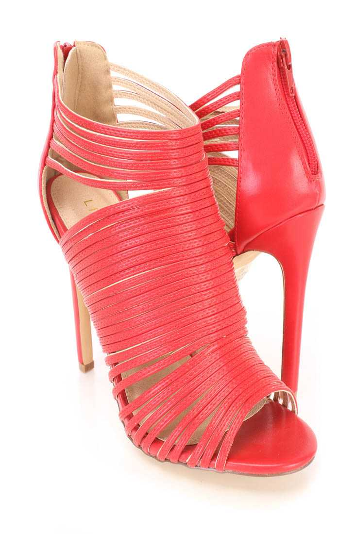 Red Strappy Peep Toe Sandal Booties Faux Leather