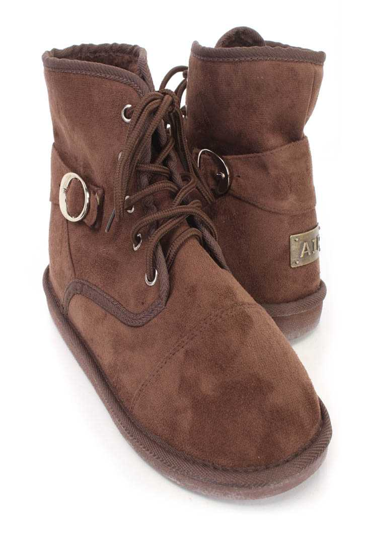 Brown Lace Up Comfy Ankle Booties Faux Suede
