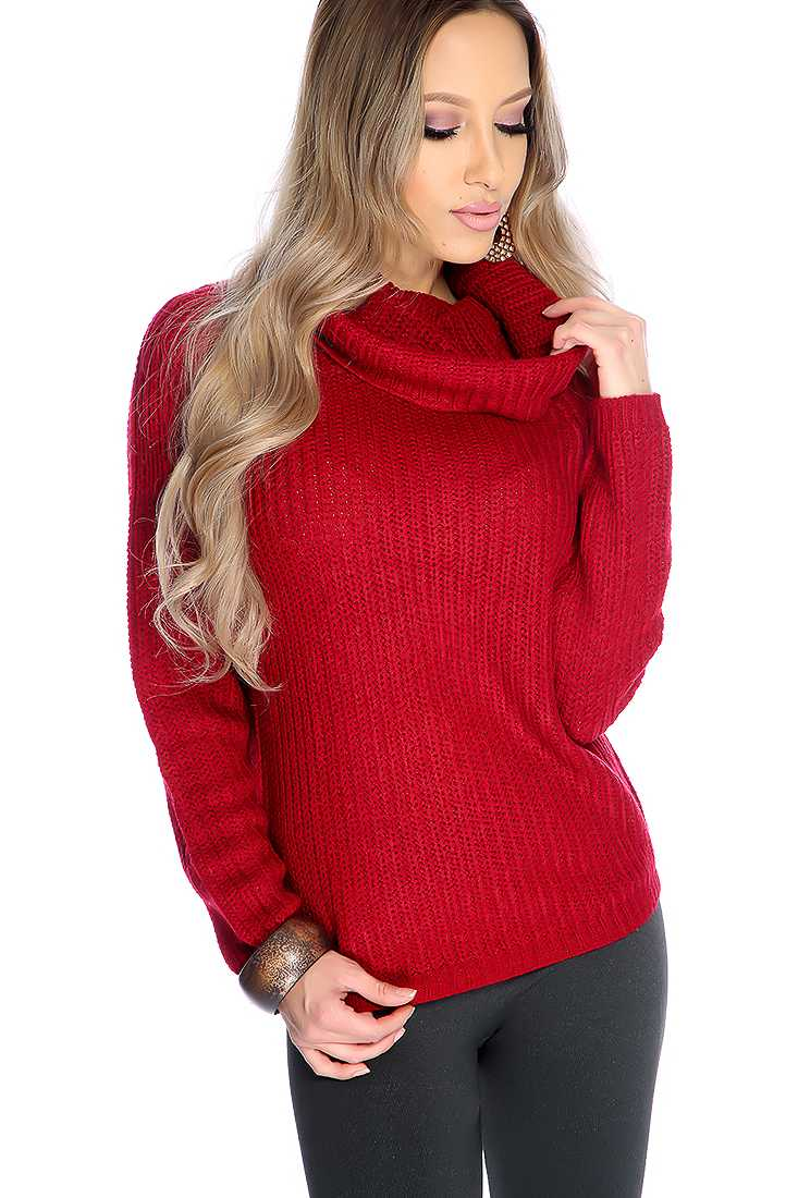 Wine Knitted Turtle Neck Long Sleeve Sweater Top