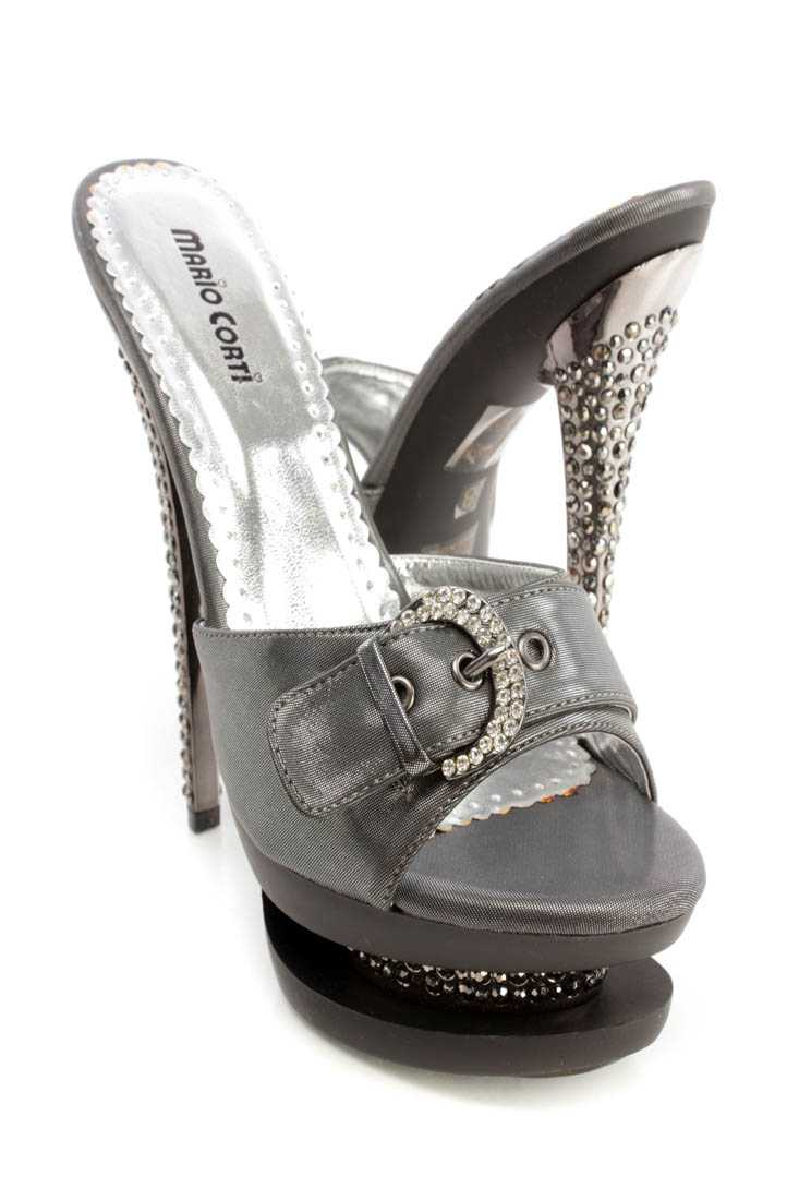 Pewter Rhinestone Buckle Slip On 6 Inch High Heels Shimmer Fabric