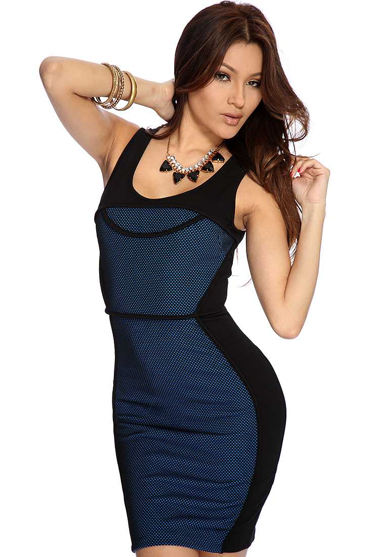 Black Royal Blue Perforated Textured Sexy Bodycon Dress