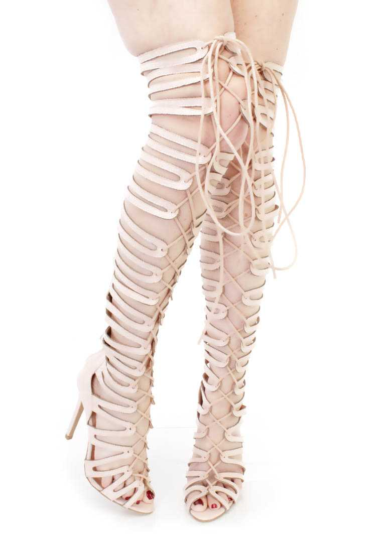 Nude Thigh High Single Sole Gladiator Heels Faux Suede