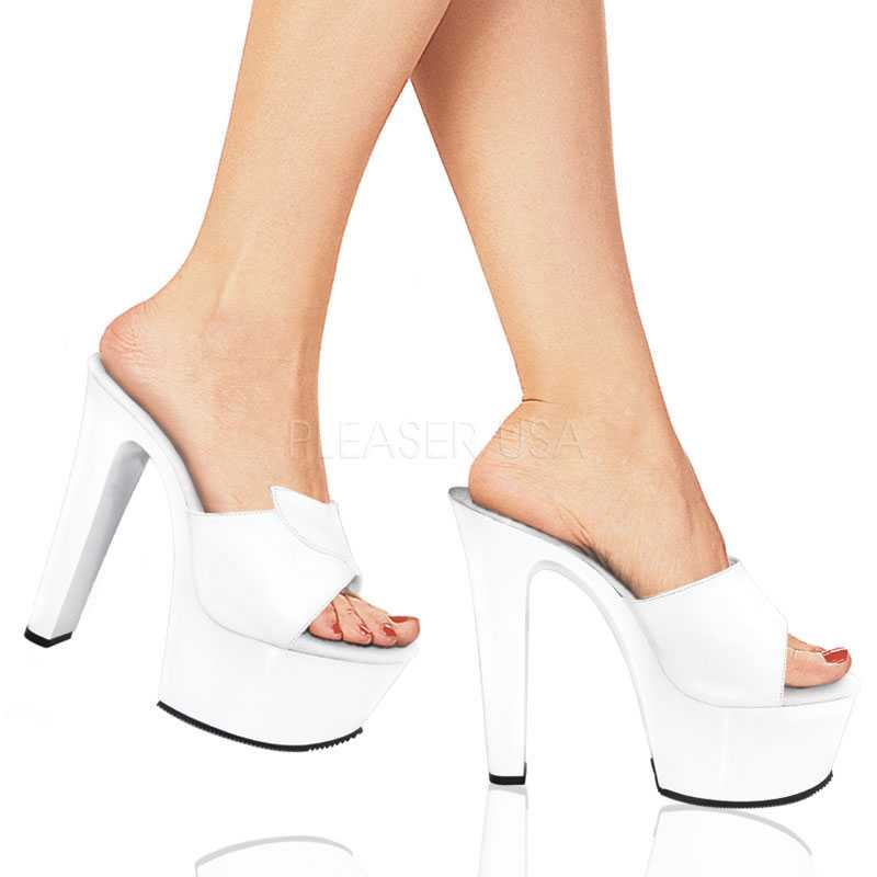White Peep Toe Platform 6 Inch High Heels Leather