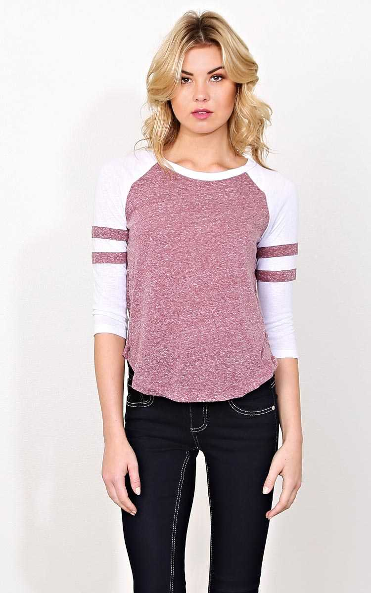 Sideline Cutie Knit Football Tee - LGE - Wine Combo in Size Large by Styles For Less